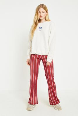 Urban Outfitters - UO Rust Striped Flared Trousers, Bronze