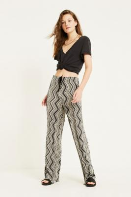 Uo Grey Zig Zag Stripe Plisse Puddle Trousers by Urban Outfitters
