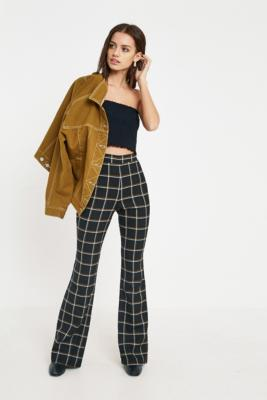 Urban Outfitters - UO Pane Check Flared Trousers, Black