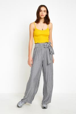UO Grey Striped Tie-Front Palazzo Trousers - Womens S