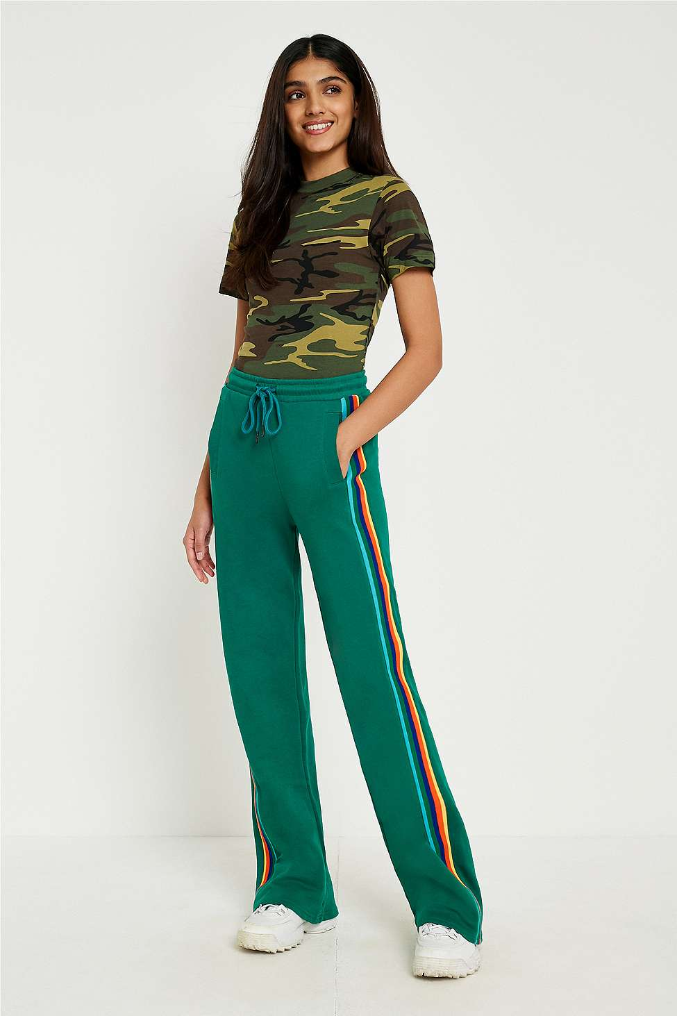 BDG Green Striped Puddle Joggers, Green