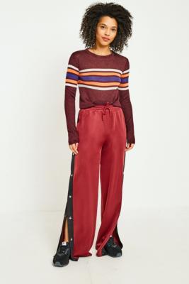 BDG - BDG Burgundy Striped Popper Track Pants, Maroon