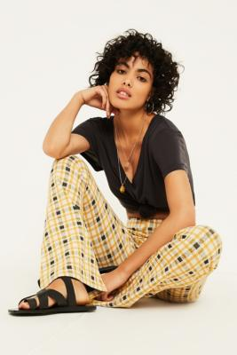 Uo Yellow Check Jersey Flare Trousers by Urban Outfitters