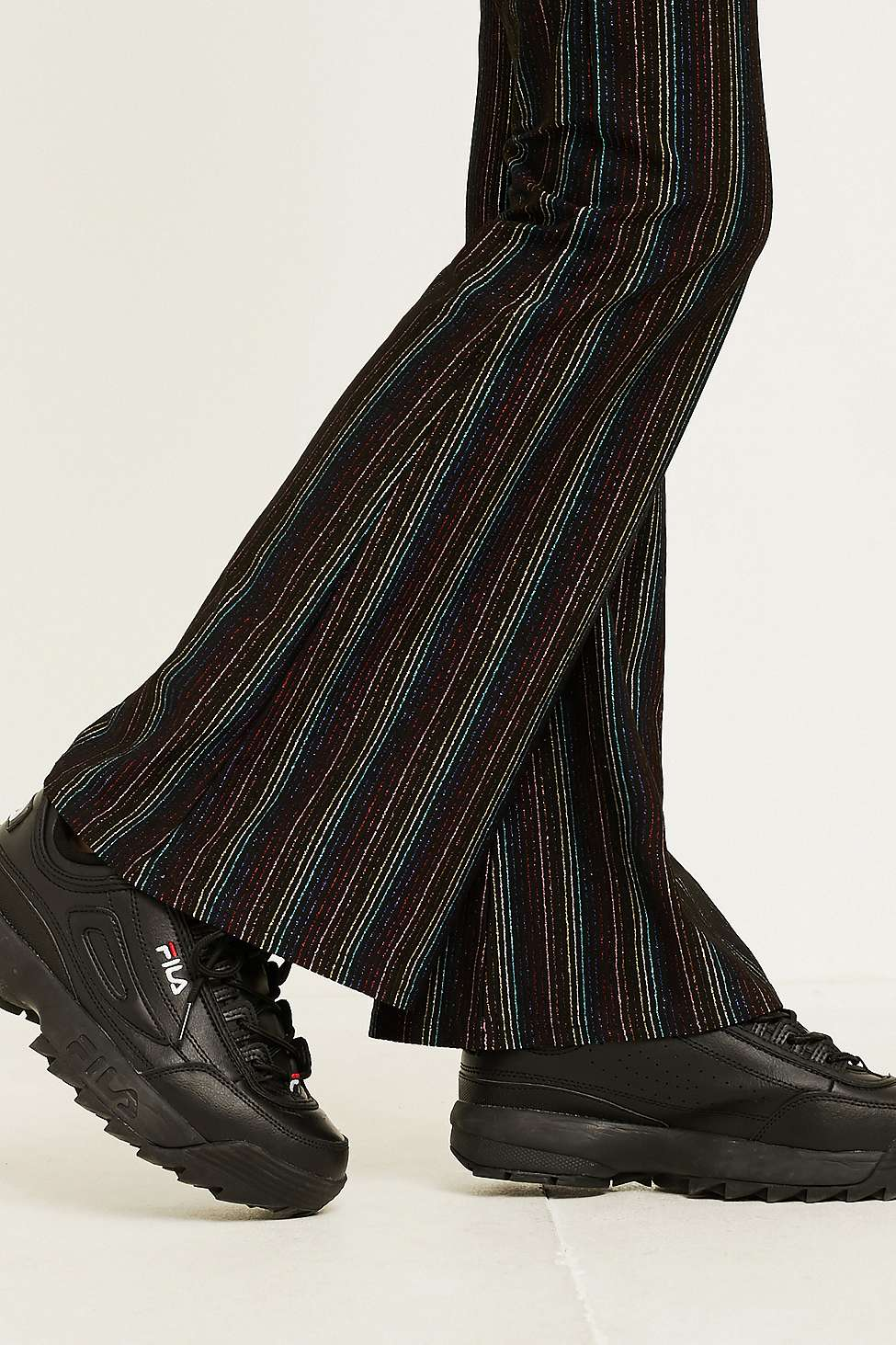 Uo Rainbow Glitter Stripe Flared Trousers by Urban Outfitters