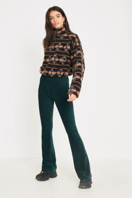 Uo Dark Green Velvet Flare Trousers by Urban Outfitters