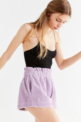 Urban Outfitters - UO Lavender Corduroy Pull-On Frayed Shorts, purple