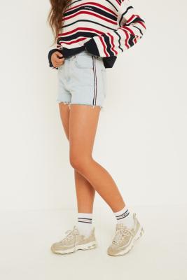 BDG - BDG Side Stripe Mom Super Bleach Wash Denim Shorts, blue