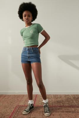 BDG Tampa Mid-Wash Hot Pants - Blue 27 at Urban Outfitters