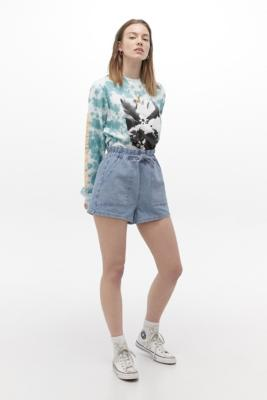 UO Paperbag Waist Pull-On Shorts - Blue XS at Urban Outfitters