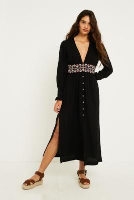 Urban Outfitters - UO Last Dance Button-Down Maxi Dress, black