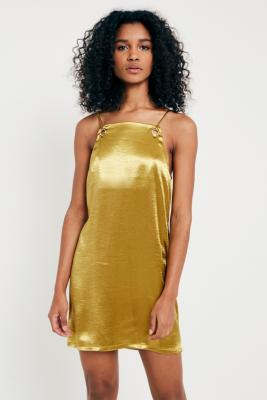 Pins and Needles - Pins  &  Needles Silky Grommet Slip Dress, Gold