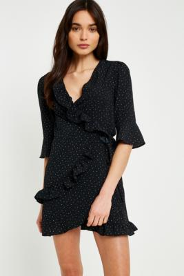 Urban Outfitters - UO Polka Dot Ruffle Wrap Dress, Black Multi