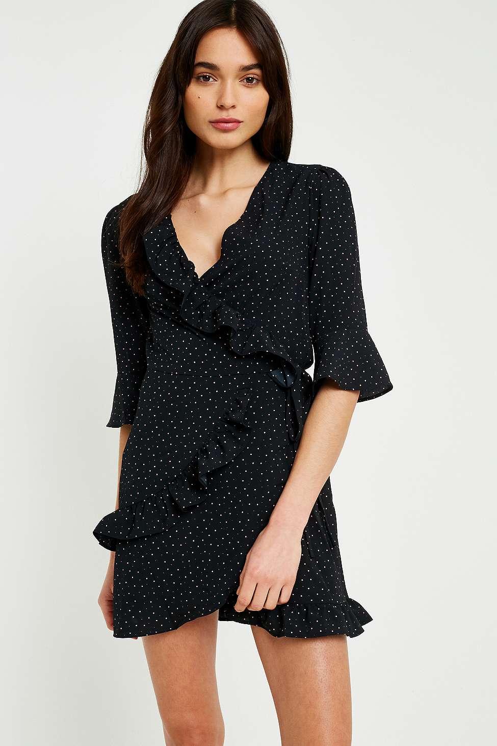 UO Polka Dot Ruffle Wrap Dress, Black Multi