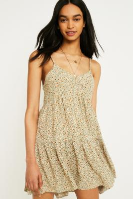Urban Outfitters - UO Harper Tiered Lace-Up Babydoll Dress, green
