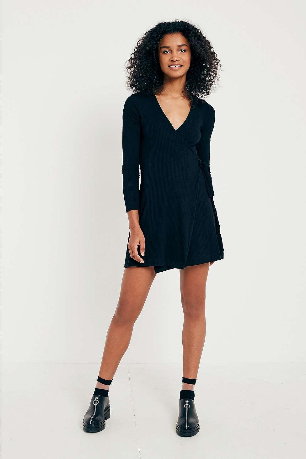 UO Rena Wrap Dress, Black