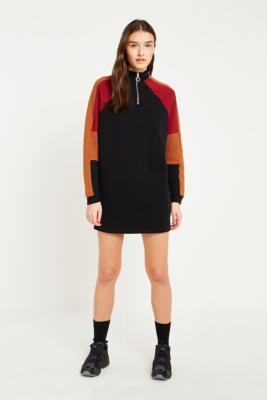 BDG - BDG Colour-Blocked Half-Zip Jumper Dress, Brown