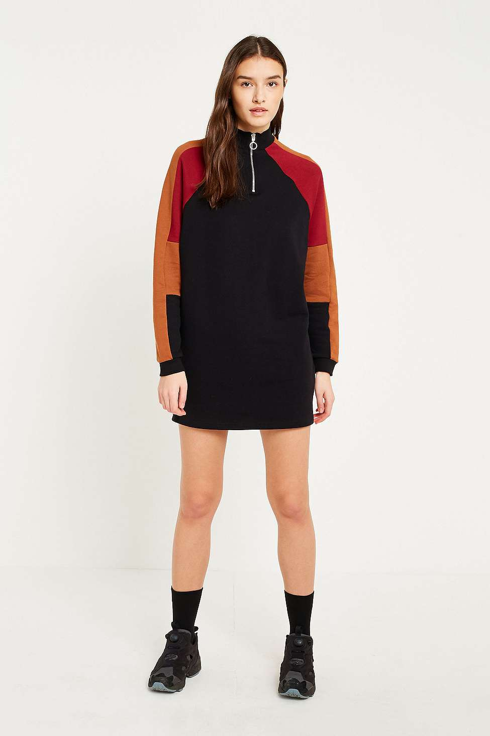 BDG Colour-Blocked Half-Zip Jumper Dress, Brown