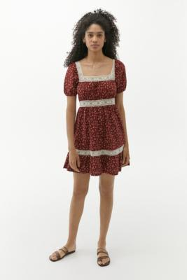 UO Floral & Lace Prairie Mini Dress - Red L at Urban Outfitters