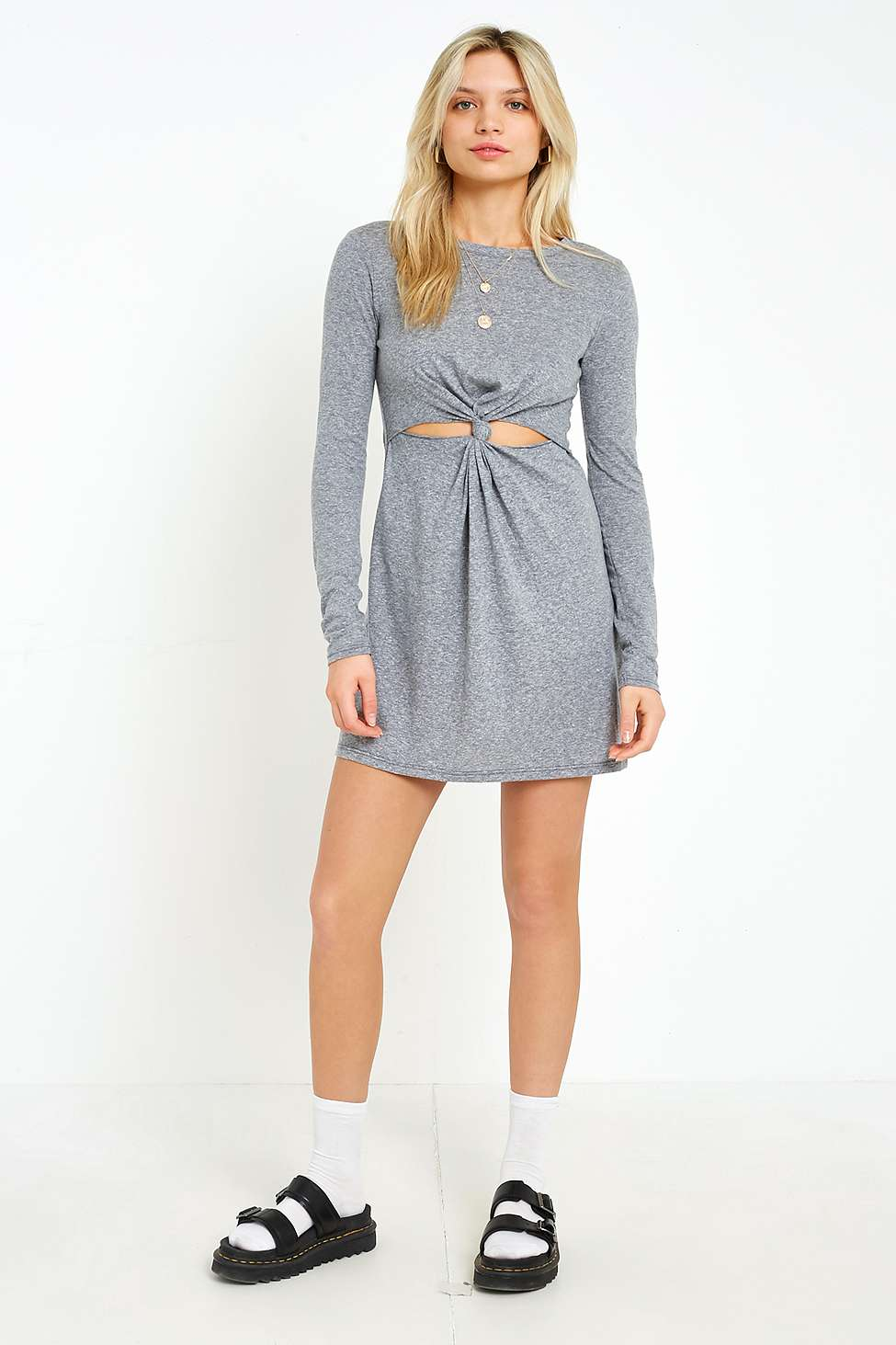 UO Cut-Out Knot-Front Long Sleeve Dress, Grey