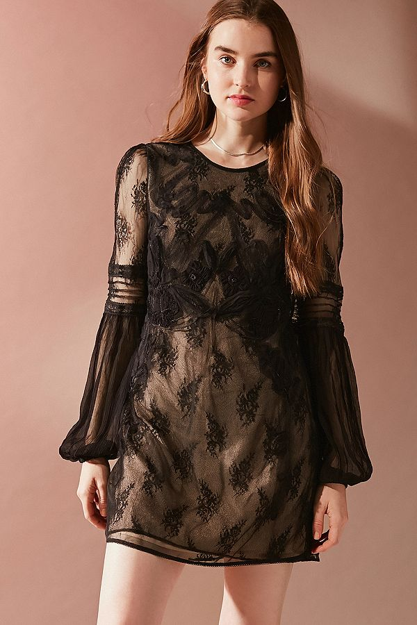 Uo Belladonna Embroidered Mesh Dress