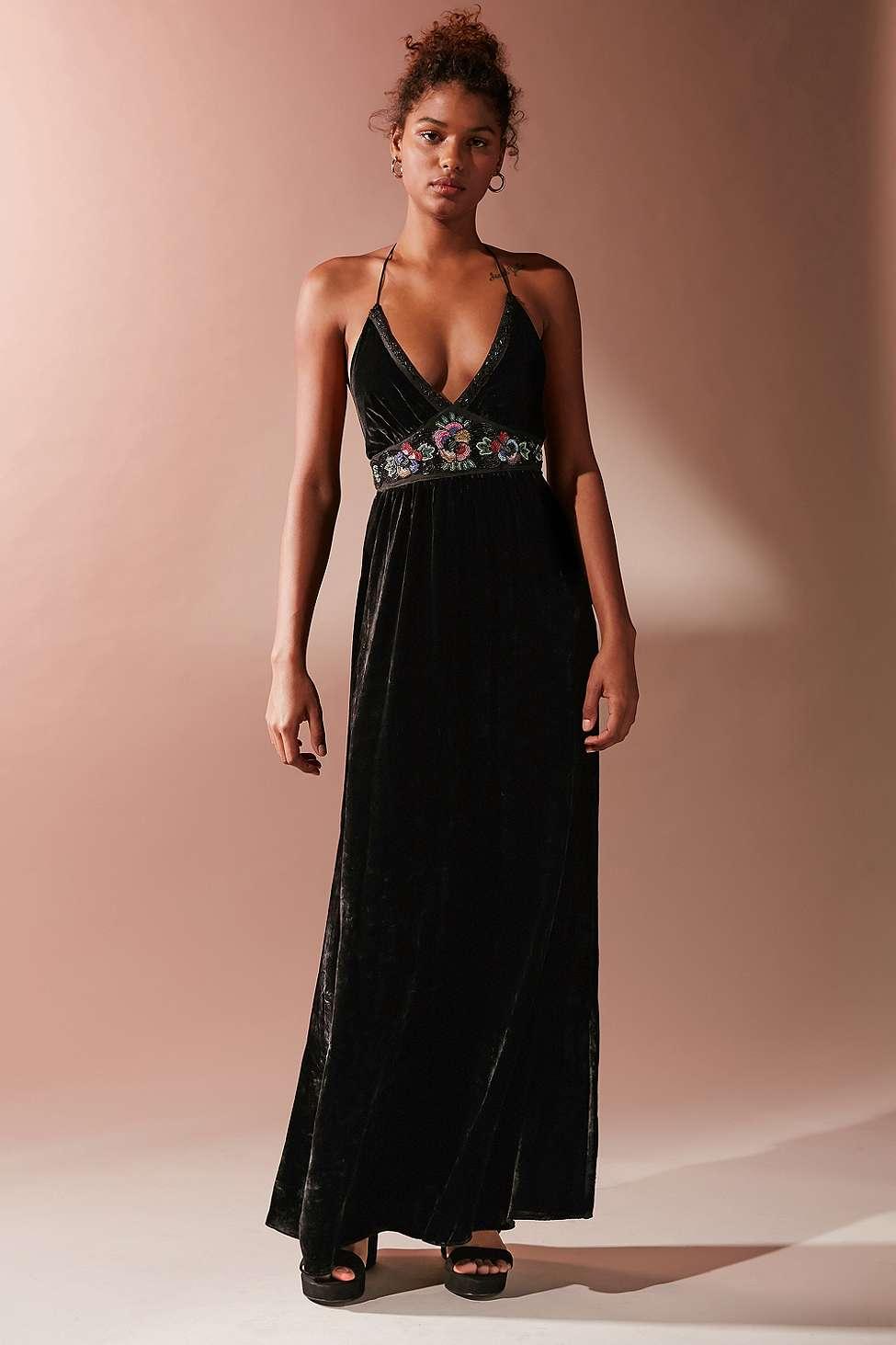 UO Black Dahlia Embroidered Velvet Maxi Dress, Black