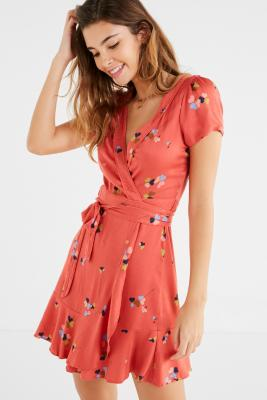 Cooperative by Urban Outfitters - Urban Outfitters Red Floral Rita Wrap Dress, Red