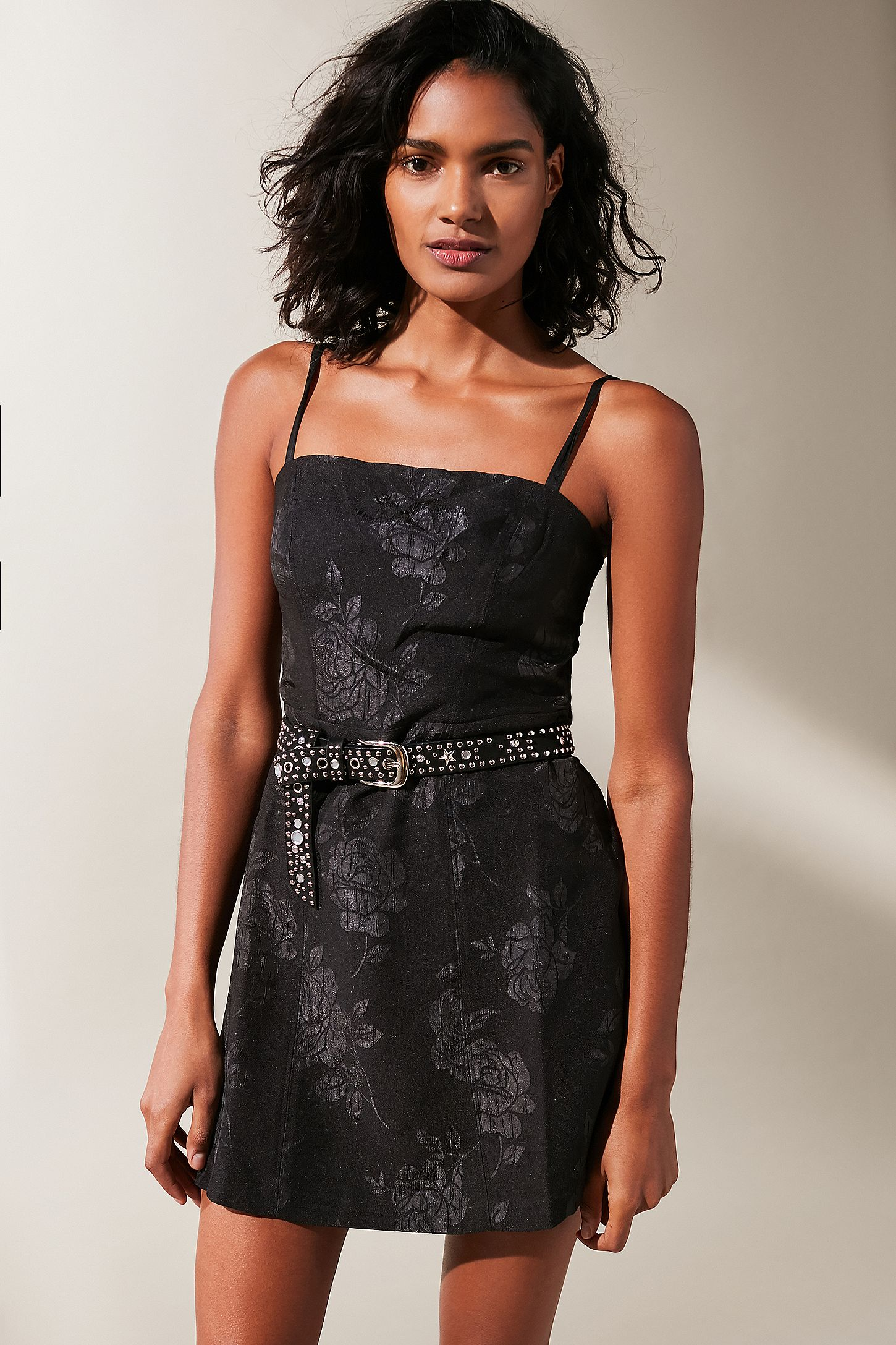 UO Waterlily Black Jacquard Straight-Neck Dress. Click on image to zoom.  Hover to zoom. Double Tap to Zoom 03687b42a