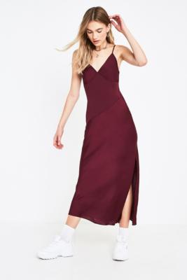 Uo Plum Contrast Panel Slip Dress by Urban Outfitters