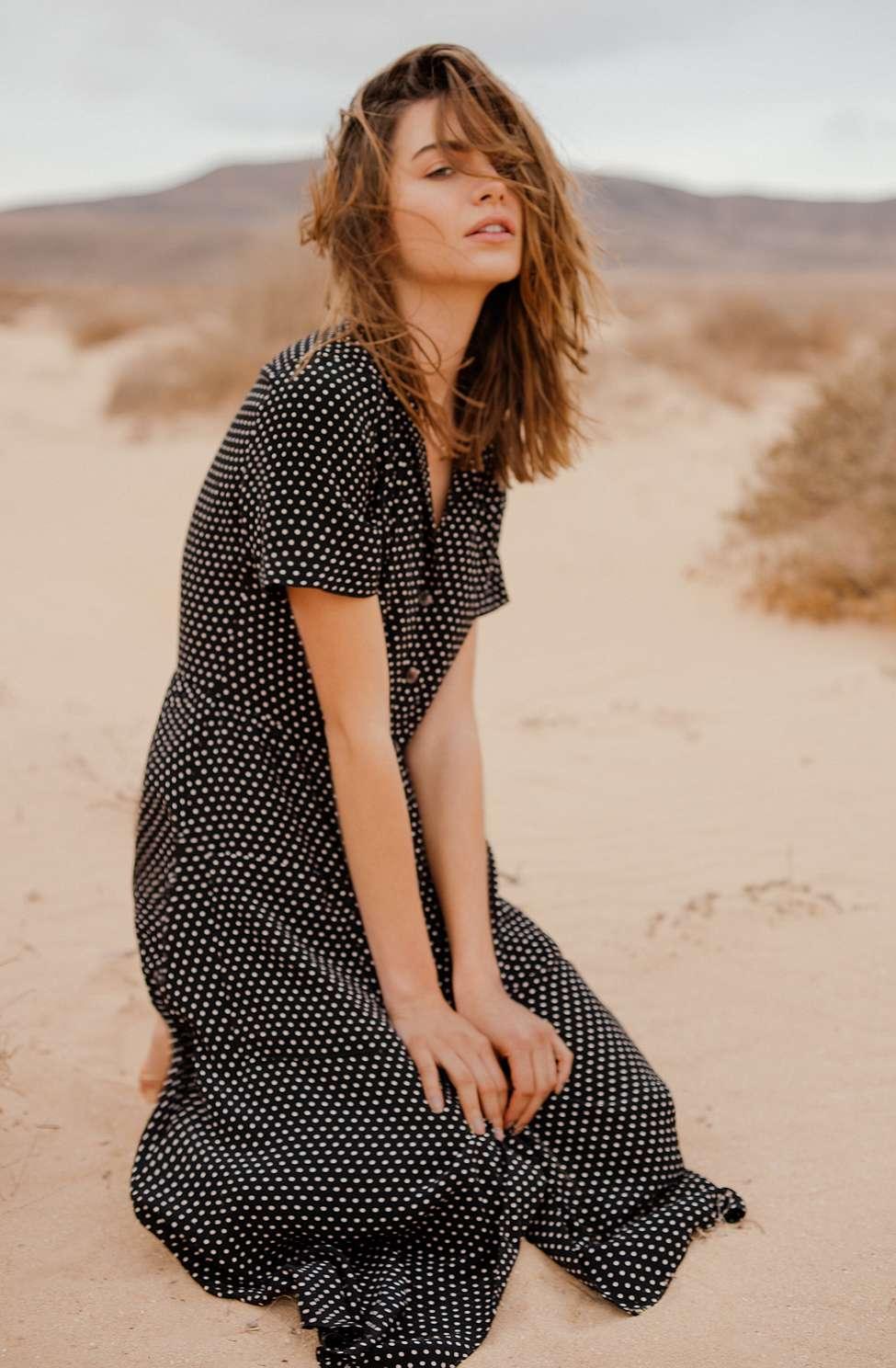 Pins  &  Needles Polka Dot Midi Shirt Dress, Black  &  White