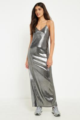 Sparkle and Fade - Sparkle  &  Fade Silver Shimmer Maxi Dress, Silver
