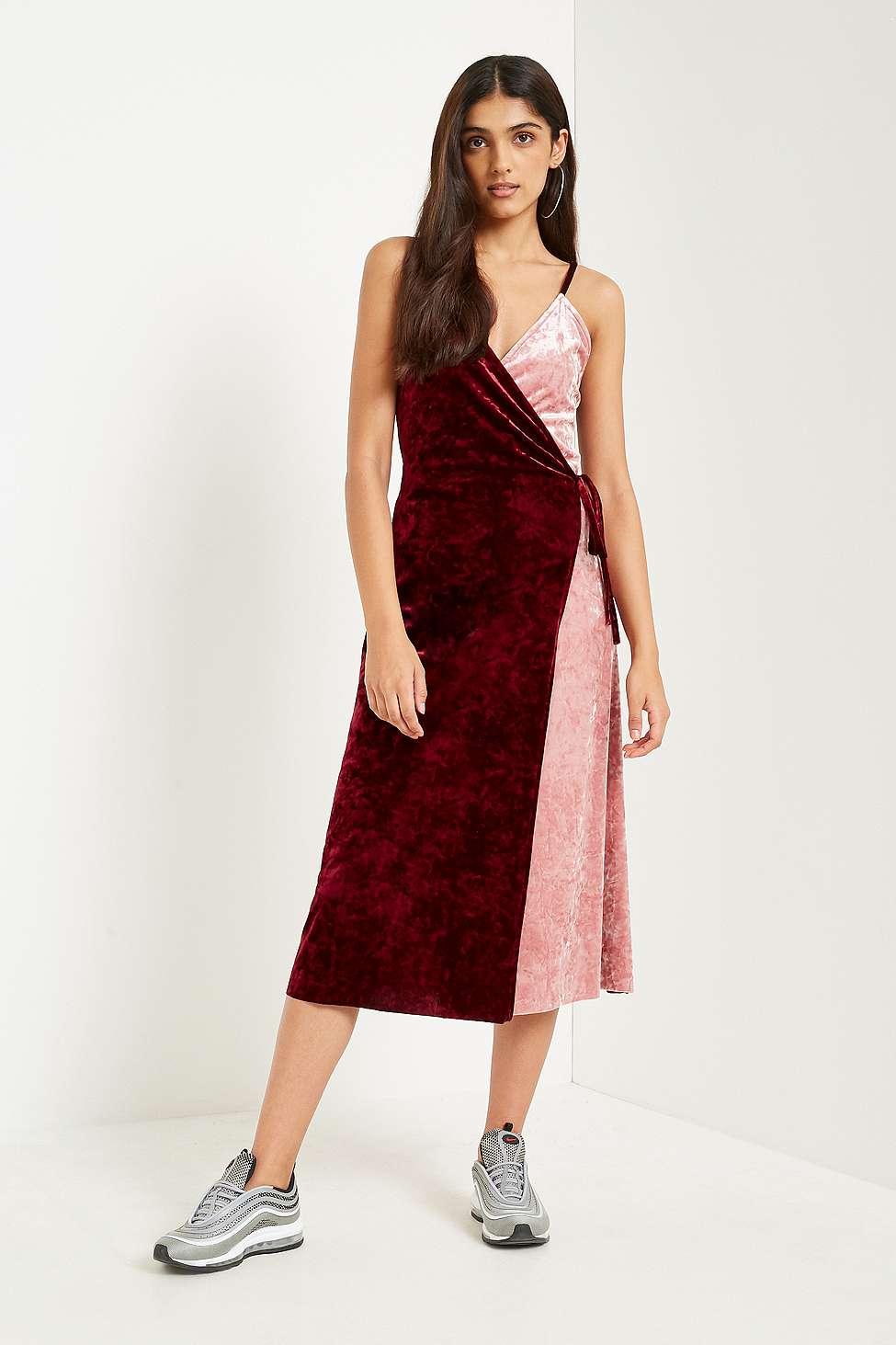 Pins  &  Needles Two-Tone Velvet Midi Dress, Pink