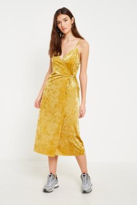 Pins and Needles - Pins  &  Needles Gold Velvet Wrap Midi Dress, Gold