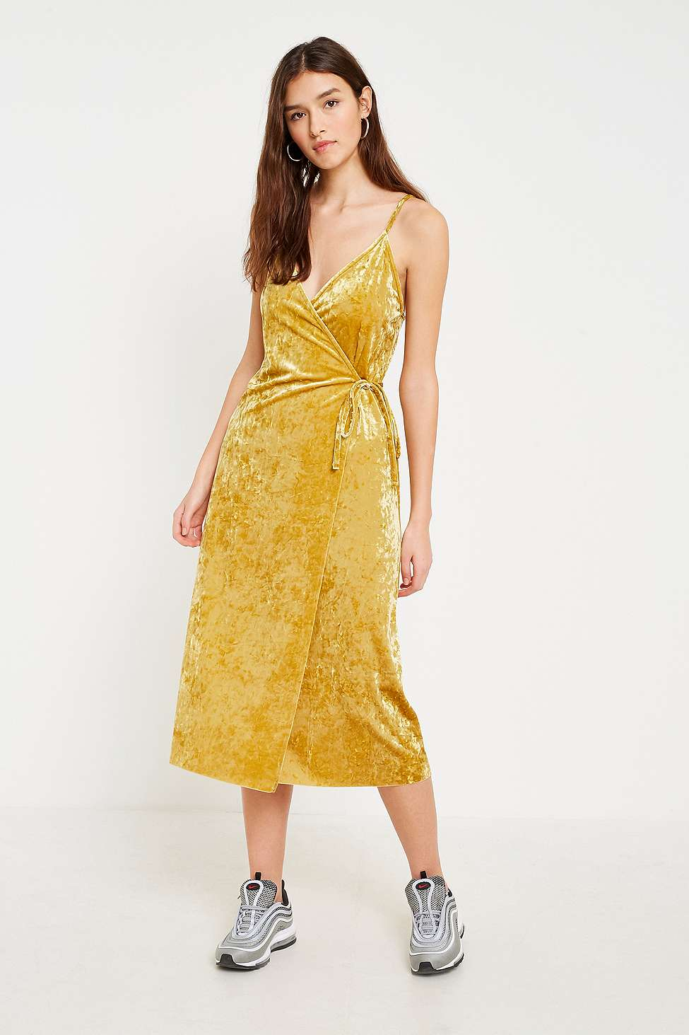 Pins  &  Needles Gold Velvet Wrap Midi Dress, Gold