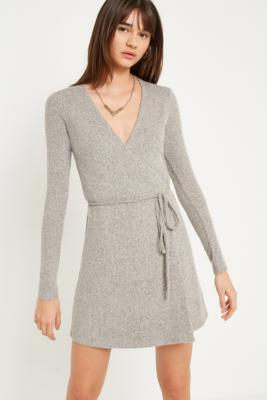 Pins and Needles - Pins  &  Needles Cosy Ribbed Wrap Dress, Grey