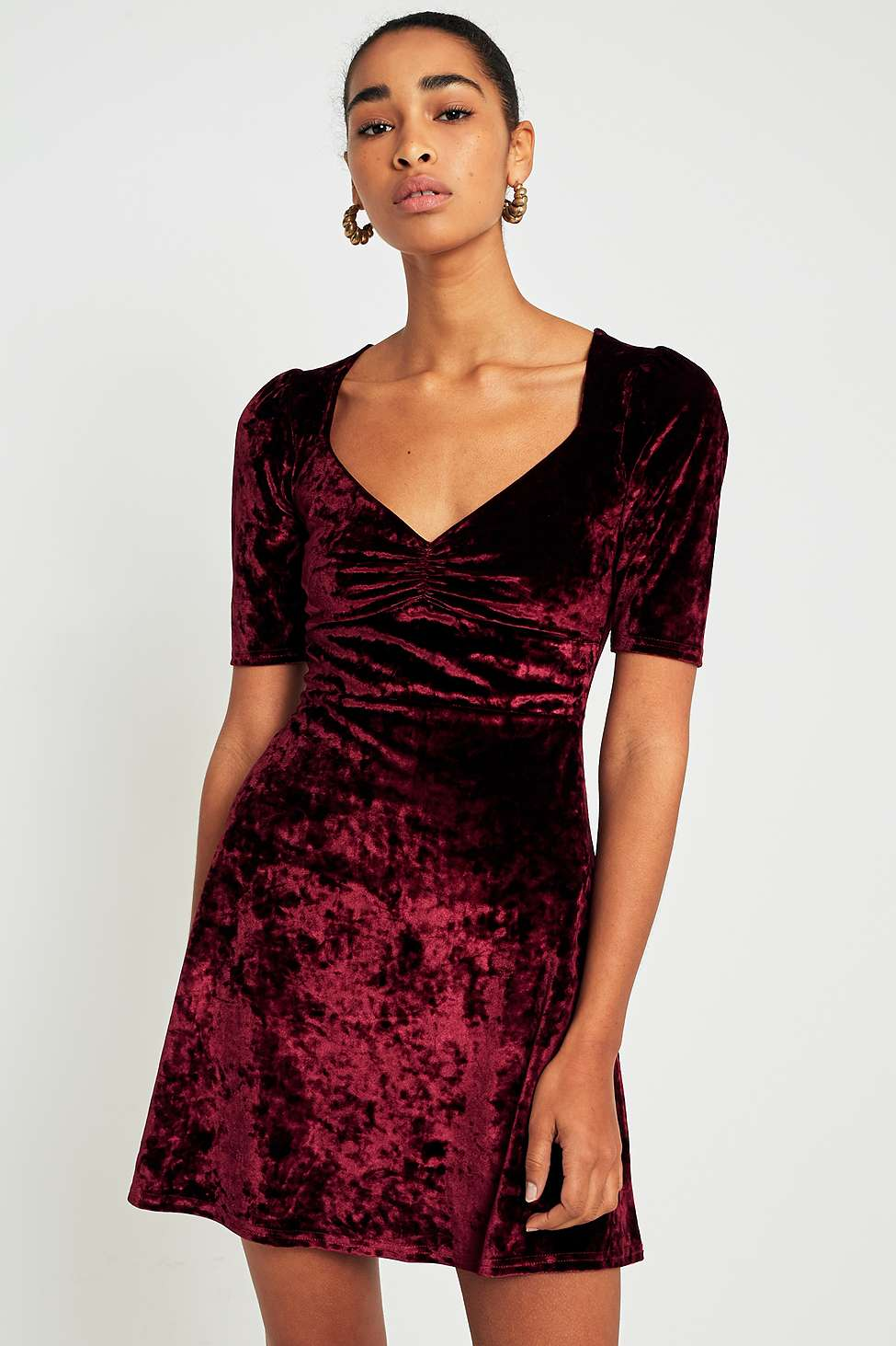 Pins  &  Needles Sweetheart Neckline Velvet Fit-and-Flare Dress, Maroon