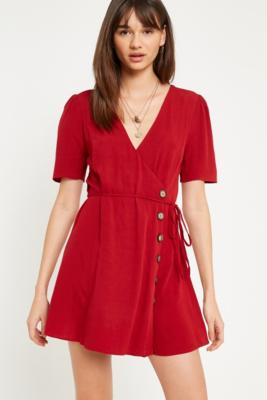 Pins and Needles - Pins  &  Needles Red Side-Button Wrap Dress, Red