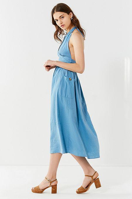 62a9eb50f8d1 UO Betsey Niagara Blue Halter Midi Dress
