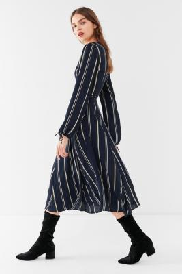 Urban Outfitters - UO Audrey Blue Striped Long-Sleeve Wrap Midi Dress, Navy