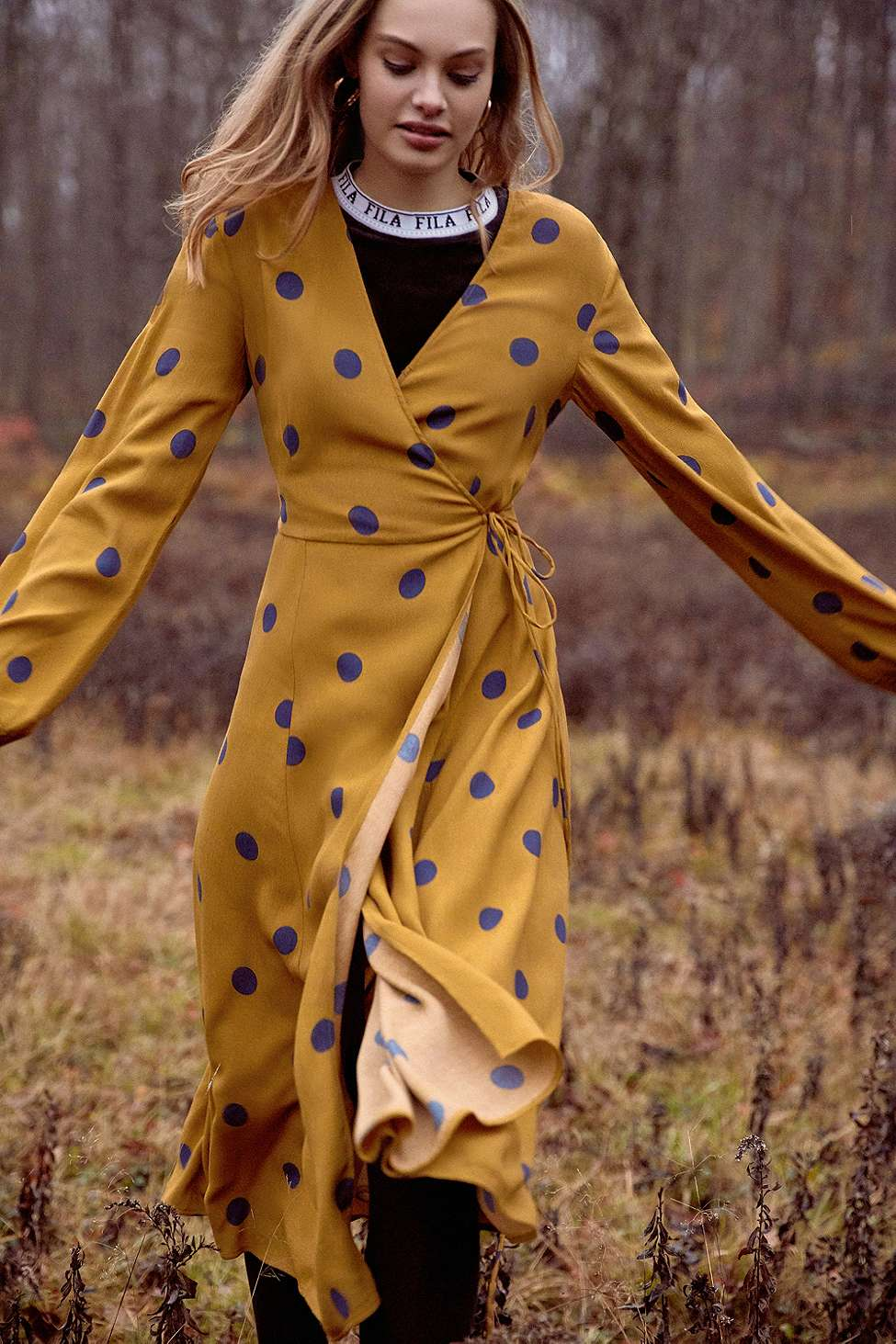 UO Yellow Audrey Polka Dot Long-Sleeve Wrap Midi Dress, Yellow