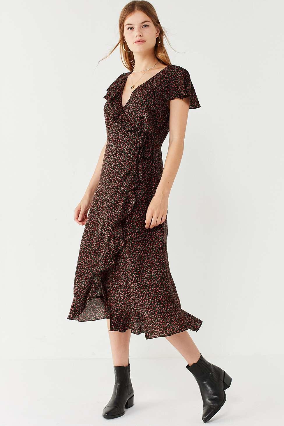 Kimchi Blue Ruffle Midi Wrap Dress | Urban Outfitters