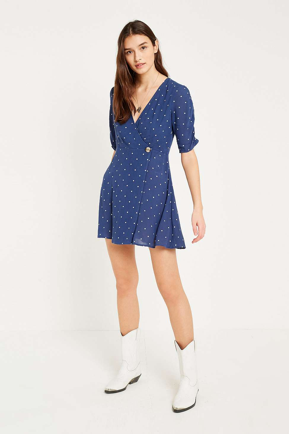 Slide View: 1: UO Spotted Wrap Dress