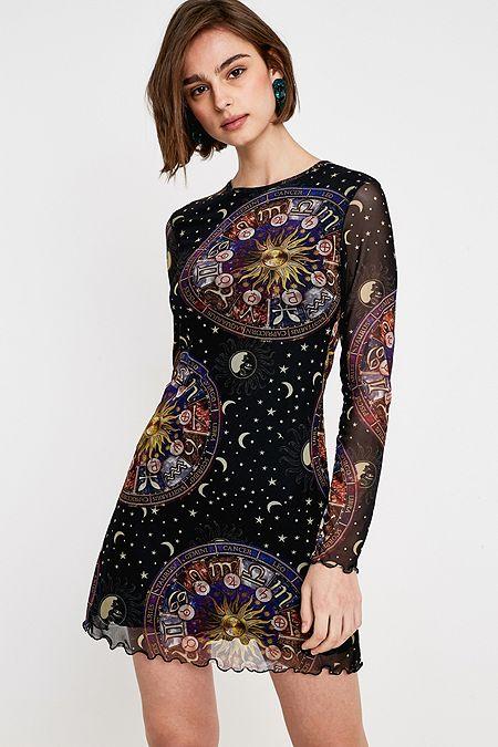 Uo Horoscope Print Mesh Mini Dress