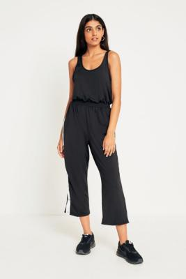Urban Outfitters - UO Side Stripe Popper Jumpsuit, black