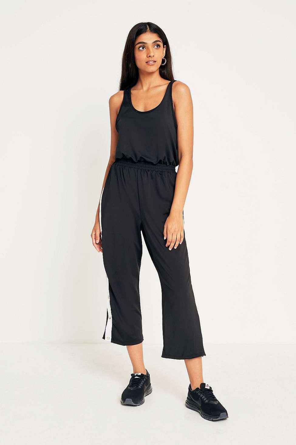UO Side Stripe Popper Jumpsuit, Black