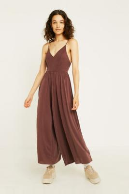 Uo Molly Burgundy Cupro Culotte Jumpsuit by Urban Outfitters