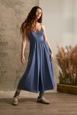 UO - Combi-pantalon style jupe culotte en cupro Molly bleu - Urban Outfitters - Modalova