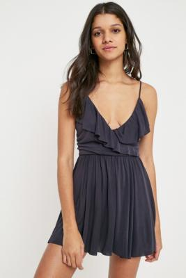 Urban Outfitters - UO Cupro Frill Wrap Playsuit, Black