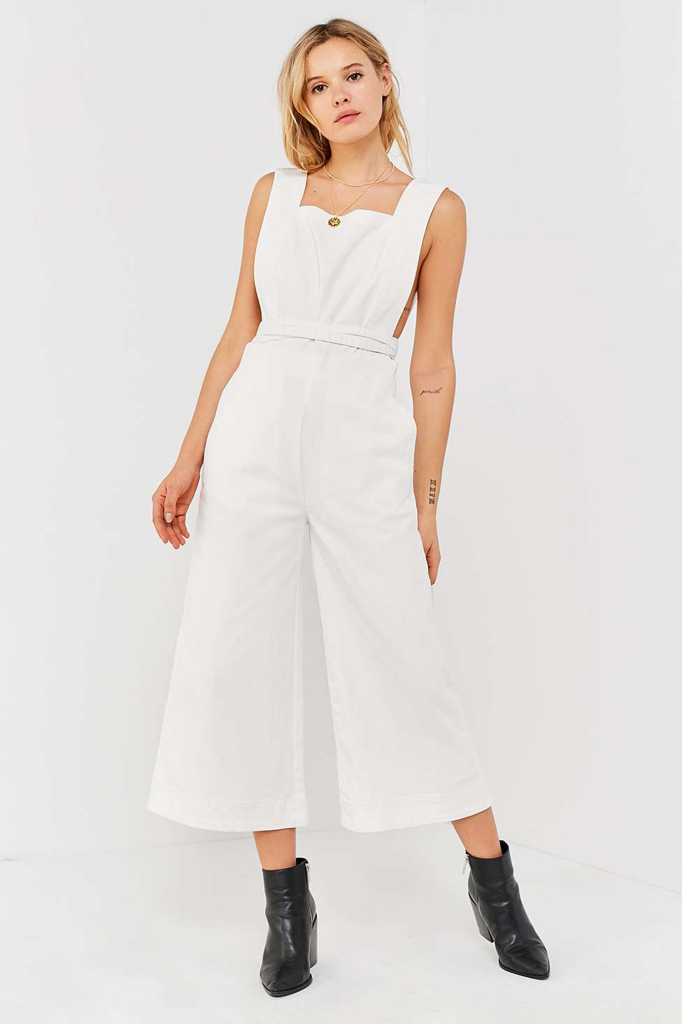 UO Tia Square-Neck Apron Jumpsuit, White