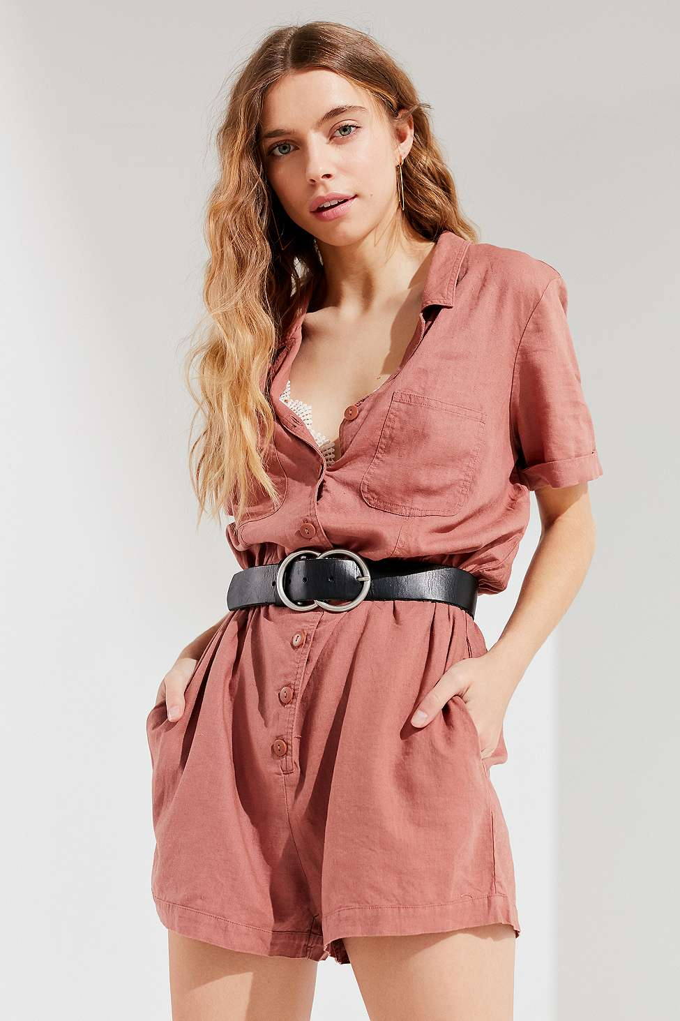 UO Out + About Brown Linen Shirt Playsuit, Taupe
