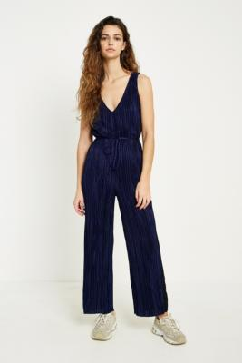 Urban Outfitters - UO Blue Side Striped Plisse Jumpsuit, Black